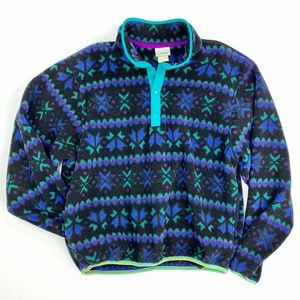 VINTAGE L.L. Bean Nordic Print Fuzzy Pullover